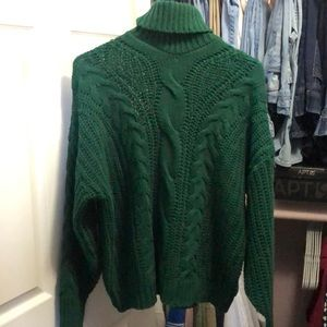 Andthewhy Women's Green Turtleneck Sweater